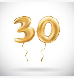 golden number 30 thirty metallic balloon party vector image vector image