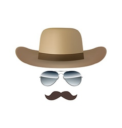 Hat Glasses and Mustache isolated on white vector image