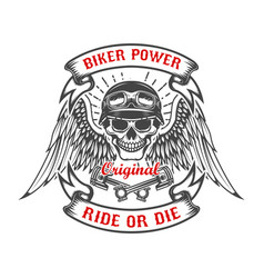 racer skull with wings and two crossed pistons vector image