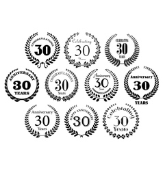Retro 30th years anniversary laurel wreaths vector image