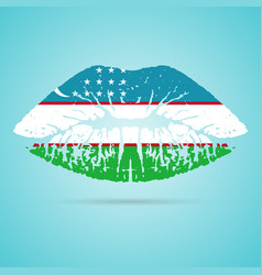 uzbekistan flag lipstick on the lips isolated on a vector image vector image