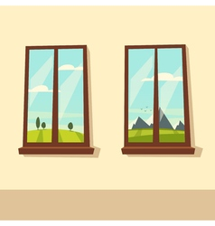 View from the windows Cartoon vector image vector image