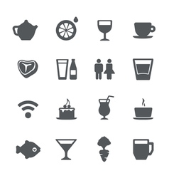 cafe restaurant icons set vector image