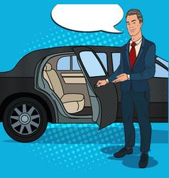 driver waiting ner black limousine pop art vector image vector image