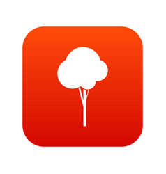 fluffy tree icon digital red vector image