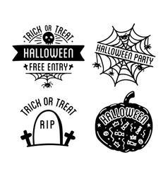 Happy Halloween design collection Black badges vector image vector image