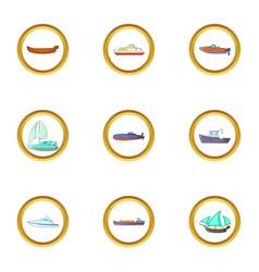 sea cargo icons set cartoon style vector image vector image