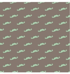 Tile pattern green mustache on brown background vector image vector image