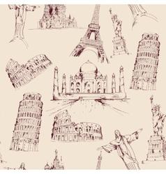 World landmark seamless pattern vector image