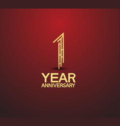 1 year golden anniversary logotype with labyrinth vector