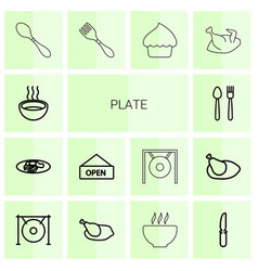 14 plate icons vector