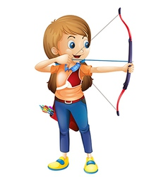 A young lady playing archery vector
