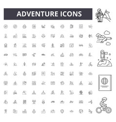 adventure line icons signs set outline vector image