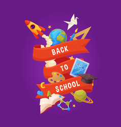 back to school background cartoon elements vector image