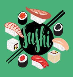 banner with a set of sushi and rolls vector image vector image