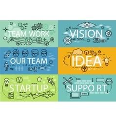 Banners Set Idea Startup Teamwork vector