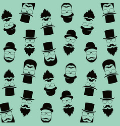 bearded hipster pattern with glasses moustaches vector image