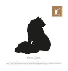 black silhouette bear vector image
