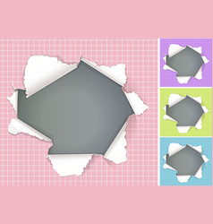 broken hole in paper colored backgrounds vector image