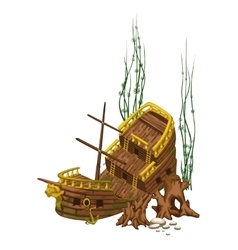 Broken old wooden ship surrounded by roots vector image
