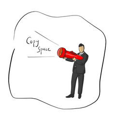 businessman holding flashlight with copyspace vector image