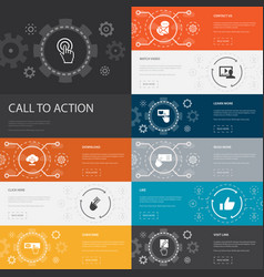 Call to action infographic 10 line icons banners vector