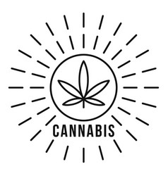cannabis on sun logo outline style vector image