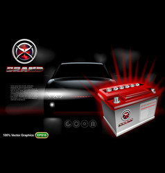 Car battery with car on black background mock up vector