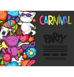 Carnival party kawaii flayer Cute cats vector