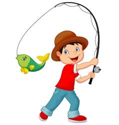 Cartoon Boy fishing vector image