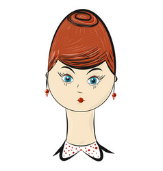 cartoon style portrait of middle-aged woman vector image
