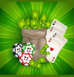 casino banner with tokens cards and money bag vector image