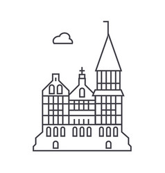 Cathedral gothic church line icon sig vector