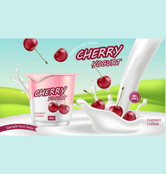 cherry yogurt realistic product placement mock up vector image
