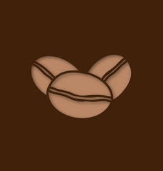 coffee beans paper cut out icon vector image