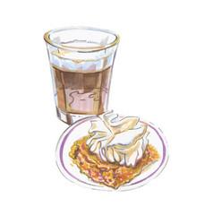 coffee corretto cake gooey pumpkin vector image