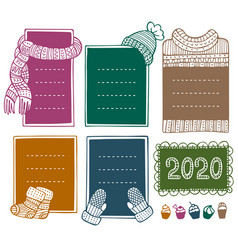 collection hand-drawn winter knitted frames vector image