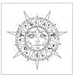 Composition alchemical symbols and moon vector