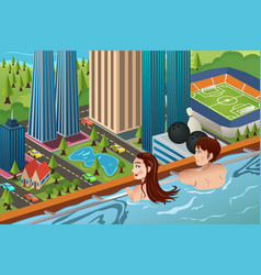 couple on a rooftop swimming pool vector image