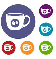 cup of coffee icons set vector image