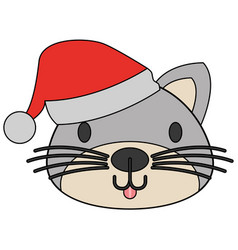 cute cat with warm hat christmas vector image