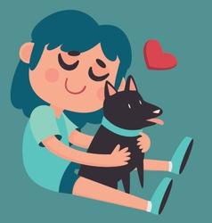 Cute Girl Hugging her Dog vector