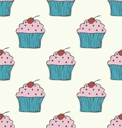 Cute hand drawn cupcake seamless pattern vector