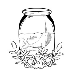 Cute narval in mason jar with wreath flowers vector
