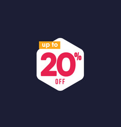 Discount up to 20 off label template design vector