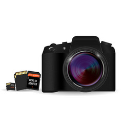 Dslr camera with sd and micro sd card memory vector
