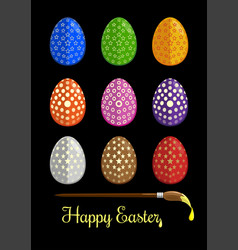 Easter eggs and brush for coloring eggs vector