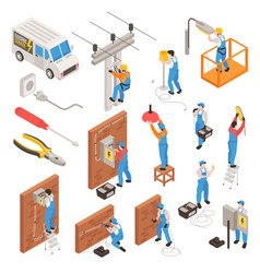 Electrician isometric icons set vector