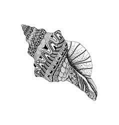 Entangle stylized black sea cockleshell hand vector
