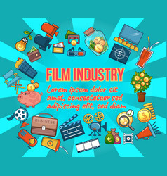 Film industry concept banner cartoon style vector